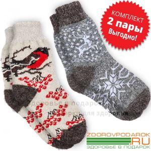 Женские пуховые носки со снегирями и оленями, комплект две пары