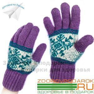 Вязаные шерстяные перчатки, лиловые