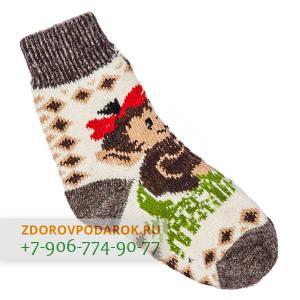 Белые шерстяные носки с обезьянками