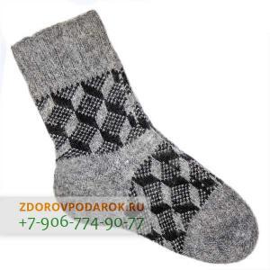 Шерстяные носки с кубиками, без резинки