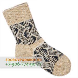 Шерстяные носки с треугольниками, серо-бежевые, без резинки