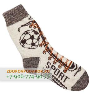 Белые шерстяные носки со спортивным рисунком