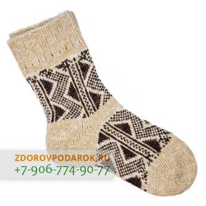 Шерстяные носки с треугольниками, коричнево-бежевые, без резинки