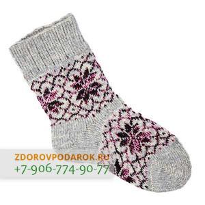 Шерстяные носки со снежинками, розово-серые, без резинки