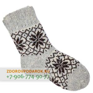 Шерстяные носки со снежинками, черно-серые, без резинки