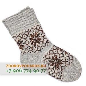 Шерстяные носки со снежинками, коричнево-серые, без резинки