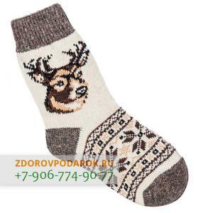 Белые шерстяные носки с оленем