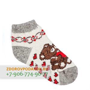 Короткие шерстяные носки с сердечками и мишками
