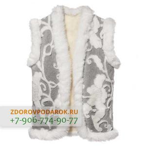 Женская меховая жилетка белая с крупными цветами