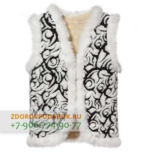 Женская меховая жилетка черно-белая с морозными узорами