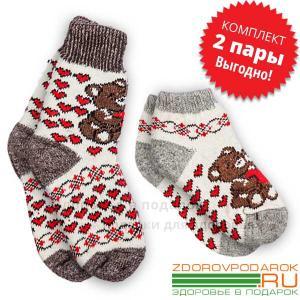 Женские шерстяные носки с мишками, комплект из коротких и средних носков