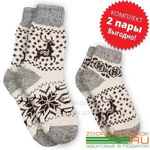 Женские шерстяные носки с оленями, комплект из коротких и средних носков