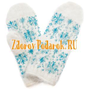 Женские варежки Снежинка, из козьего  пуха, голубые, красные
