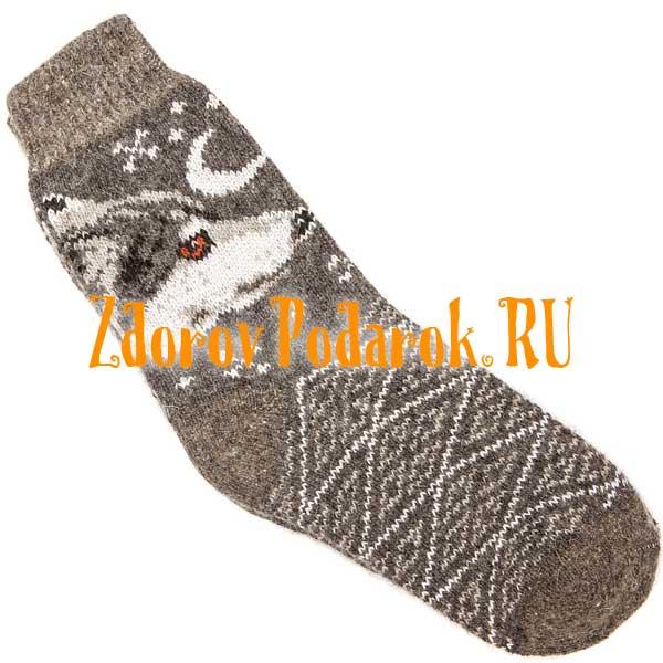 Темные шерстяные носки с волком и луной
