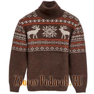 Мужской свитер из верблюжьей шерсти, рисунок «Олени»