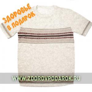 Мужская футболка коричнево-кремовая полосатая