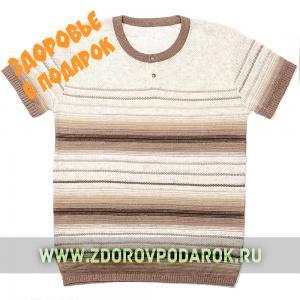 Мужская футболка коринево-бежевая полосатая
