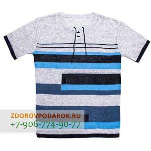 Мужская футболка бело-синяя полосатая