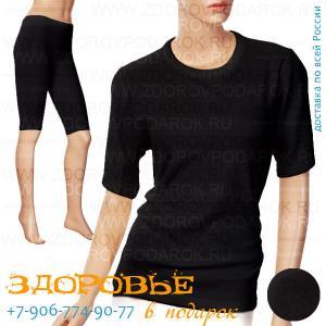 Термобелье черного цвета из ангоры, футболка и бриджи