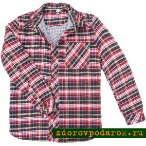 Рубашка утепленная стеганая, на подкладке из верблюжьей шерсти, красная