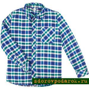 Рубашка утепленная стеганая, на подкладке из верблюжьей шерсти, голубая