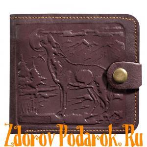 Мужской кошелек с силуэтом волка, коричневый, натуральная кожа с тиснением