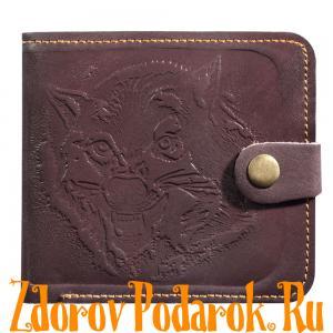 Мужской кошелек с волком, коричневый, натуральная тисненая кожа