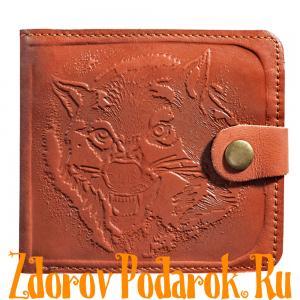 Мужской кошелек с волком, рыжий, натуральная кожа с тиснением