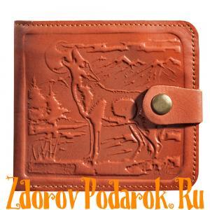 Мужской кошелек с силуэтом волка, рыжий, натуральная тисненая кожа