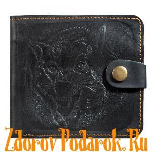 Мужской кошелек с волком, черный, натуральная кожа с тиснением