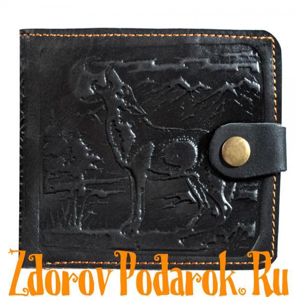 Мужской кошелек с силуэтом волка, черный, натуральная тисненая кожа