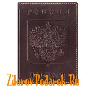 Обложка для паспорта, Герб и гимн России, тисненая кожа, цвет темно-коричневый