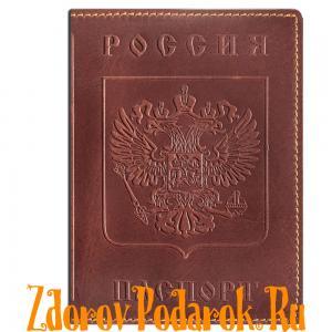 Обложка для паспорта, Герб и гимн России, тисненая кожа, цвет коричневый