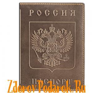 Обложка для паспорта, Герб и гимн России, тисненая кожа, цвет бежево-серый