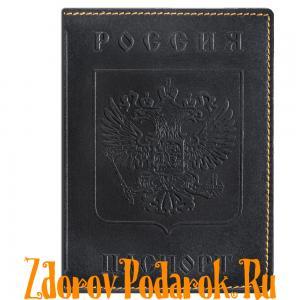 Обложка для паспорта, Герб и гимн России, тисненая кожа, цвет черный