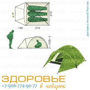 Палатка трехместная с большим тамбуром, ширина 210см