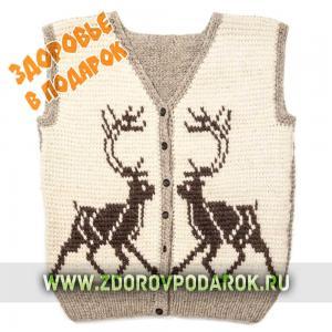 Зимняя жилетка-безрукавка с оленями из натуральной шерсти