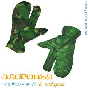 Рукавицы трехпалые, утепленный флисом, из ткани рип-стоп